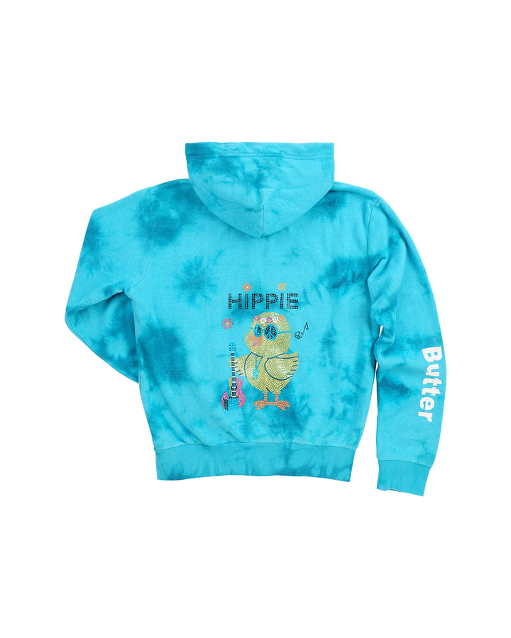 Womens Turquoise Kids Storm Wash Hippie Chick Hoody