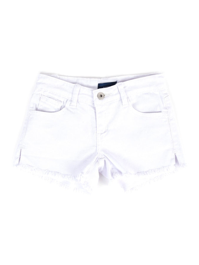 Womens White Kid's Destroyed Frayed Denim Short