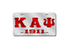 Kappa Alpha Psi Greek Letter - 1911 License Plate (Red or Silver)