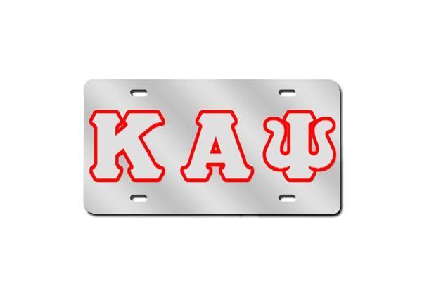 Kappa Alpha Psi Greek Letter License Plate w/ Outline (Red or Silver)