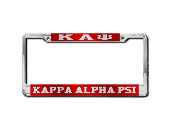 Kappa Alpha Psi Greek Letter - KAPSi License Plate Frame (Red or Silver)