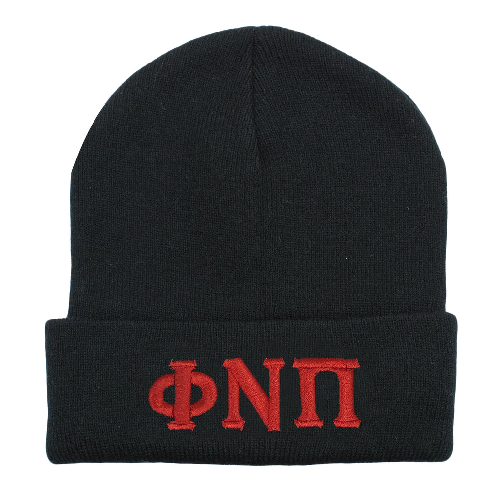 Kappa Alpha Psi Phi Nu Pi Greek Letter Knit Beanie Cap (Black)