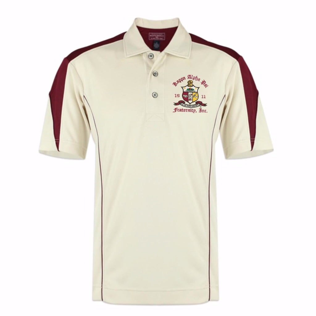 Kappa Alpha Psi Coat of Arms DriFit Polo Shirt (Cream/Krimson)