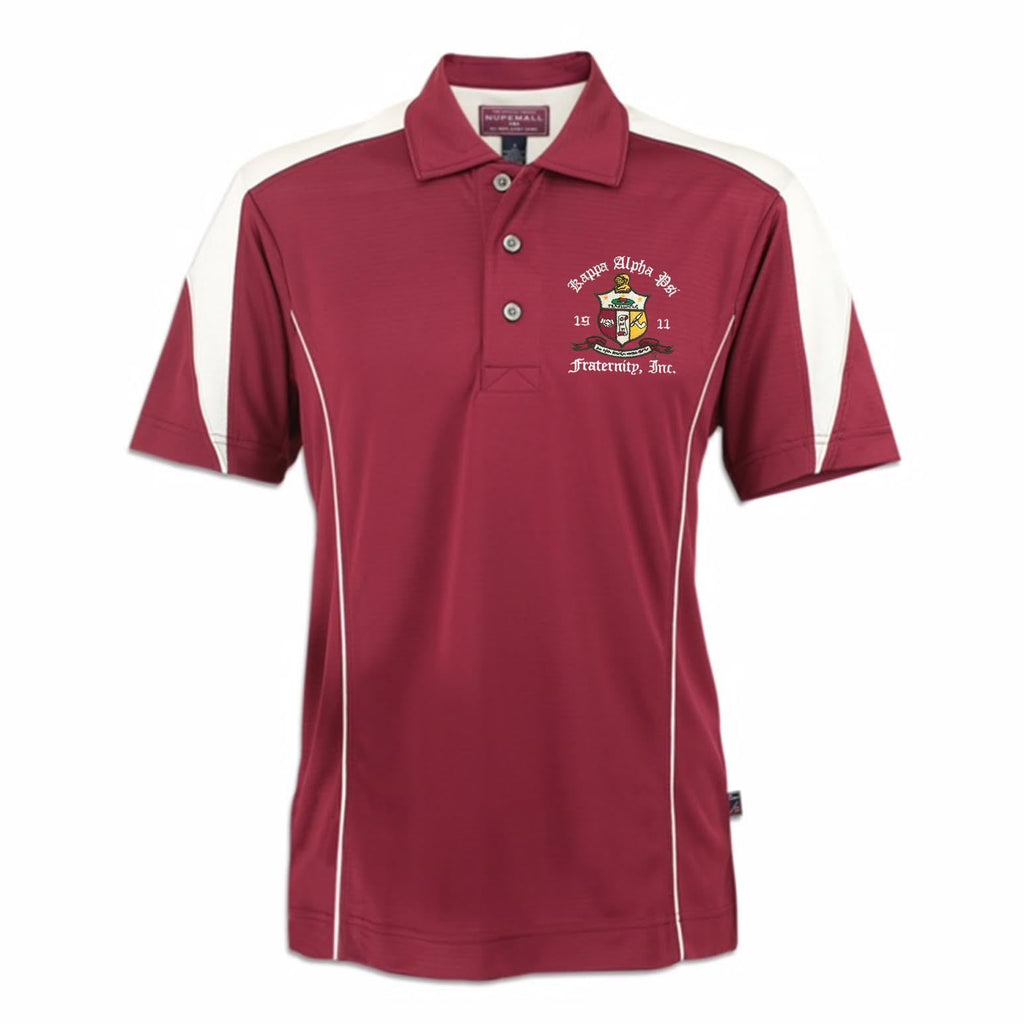 Kappa Alpha Psi Coat of Arms DriFit Polo Shirt (Krimson/Cream)