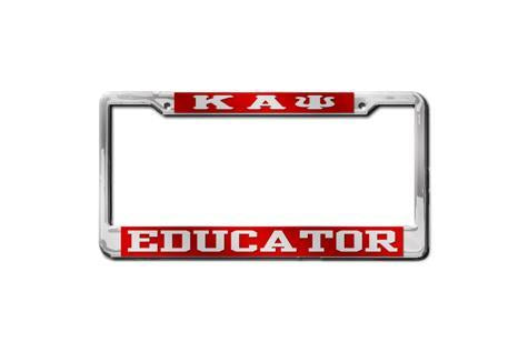 Kappa Alpha Psi Educator License Plate Frame (Red or Silver)