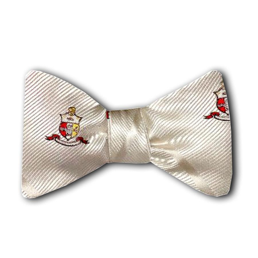Kappa Alpha Psi Striped Coat of Arms Bow Tie (White)