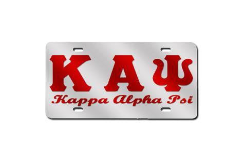 Kappa Alpha Psi Greek Letter - Script License Plate (Red or Silver)