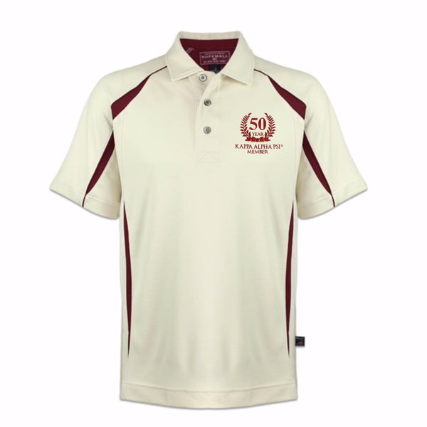 Kappa Alpha Psi 50 Year Member DriFit Polo Shirt (Cream/Krimson)