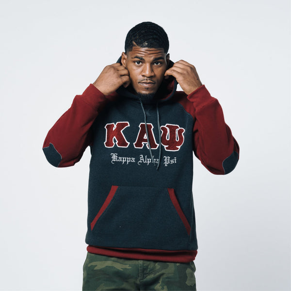 Kappa Alpha Psi Chenille 3-Letter Pullover Hoodie (Charcoal/Krimson)