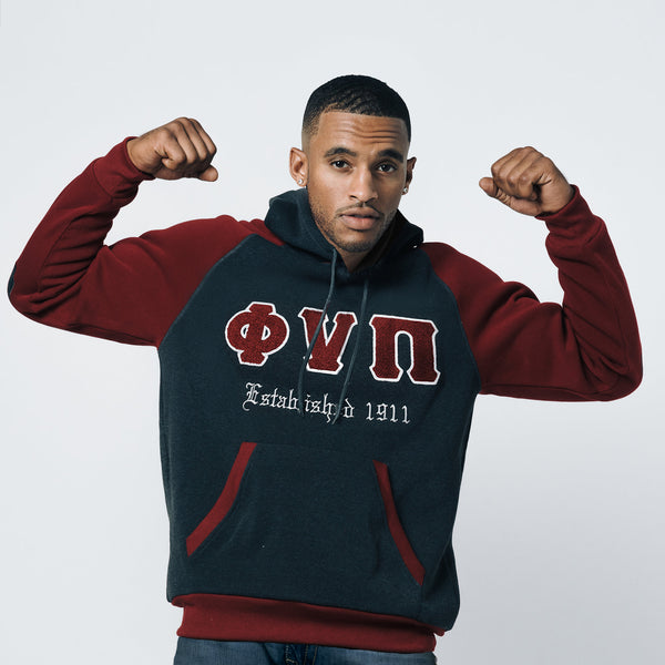 Kappa Alpha Psi Chenille Old Skool Phi Nu Pi 3-Letter Pullover Hoodie (Charcoal/Krimson)