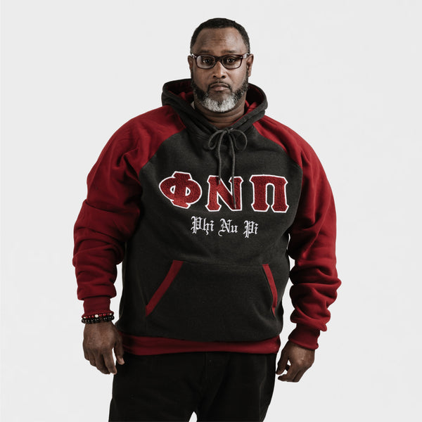Kappa Alpha Psi Chenille Phi Nu Pi 3-Letter Pullover Hoodie (Charcoal/Krimson)