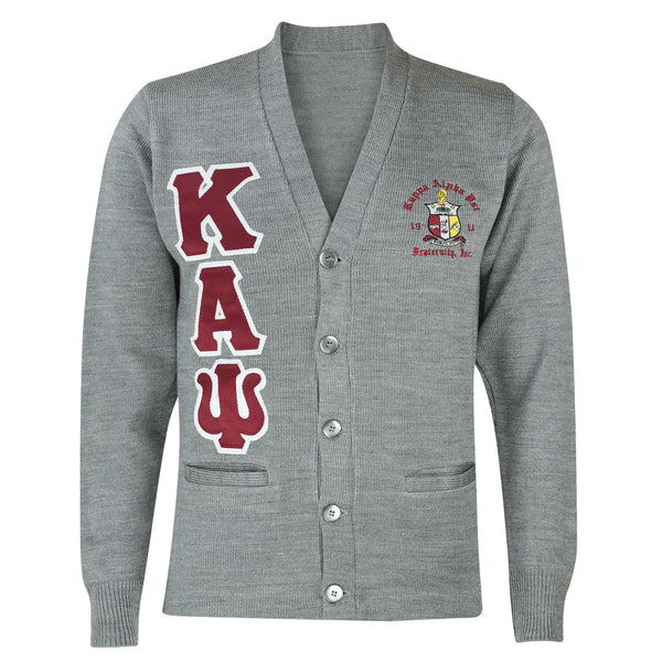 Kappa Alpha Psi CUSTOM Greek Letter Cardigan Sweater (Heather Grey)