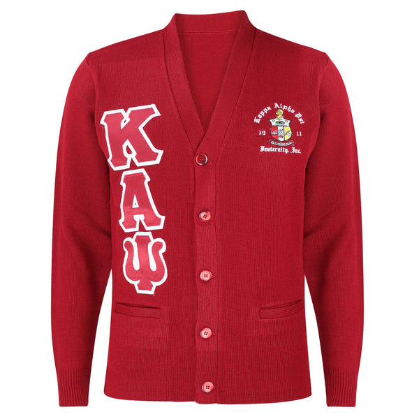 Kappa Alpha Psi  Greek Letter Cardigan Sweater (Red)