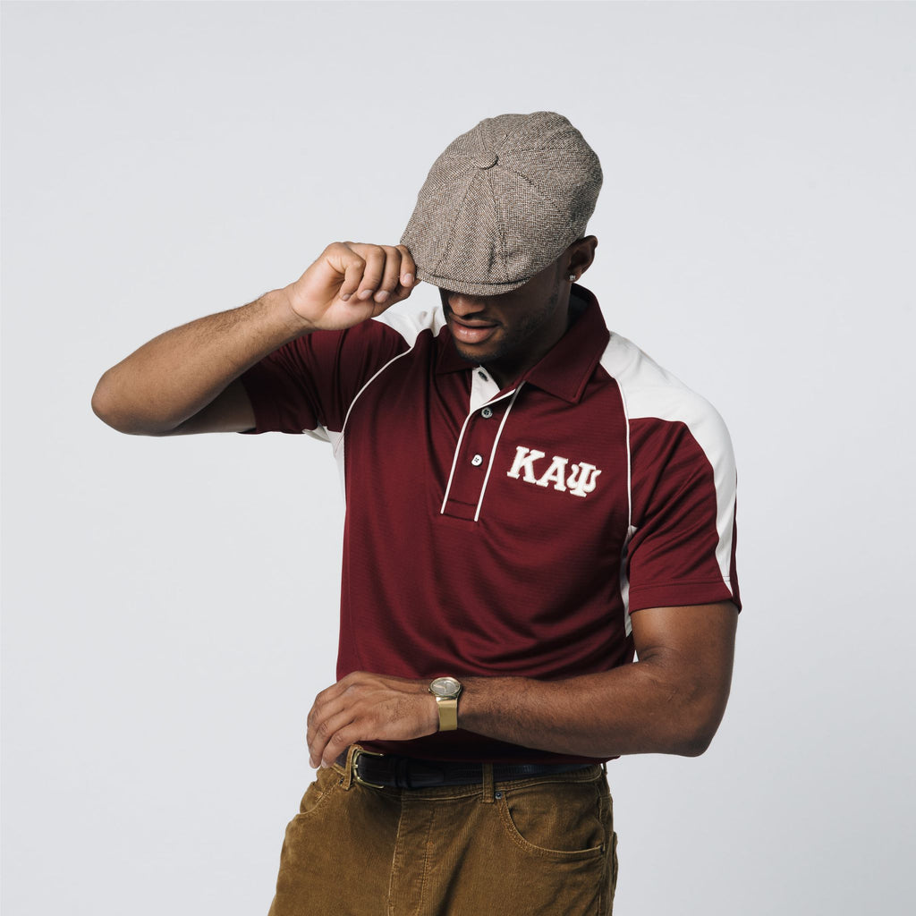 Kappa Alpha Psi Greek Letter DriFit Polo Shirt (Krimson/Cream)