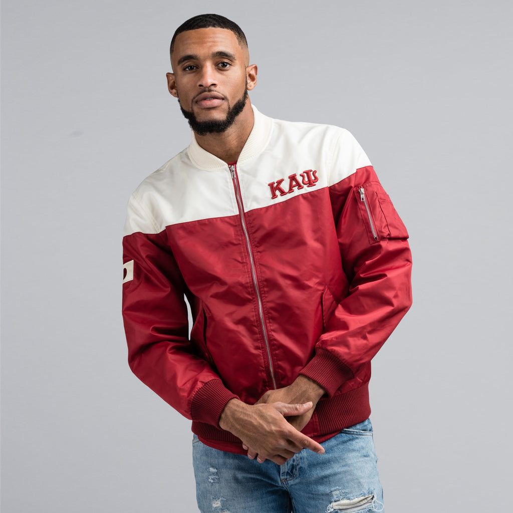 Kappa Alpha Psi JAPAN Greek Letter Bomber Jacket (Krimson & Cream)