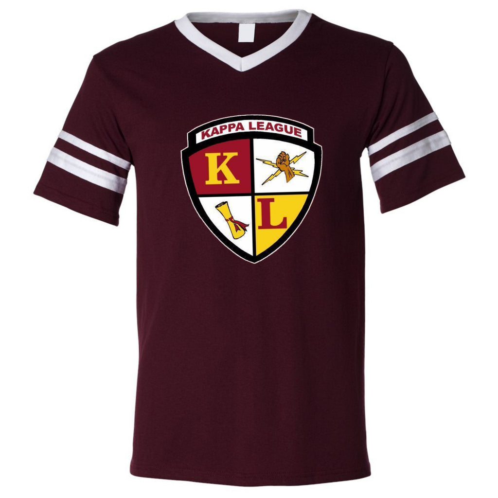 Kappa League Crest V-neck Jersey Tee (Maroon & White)
