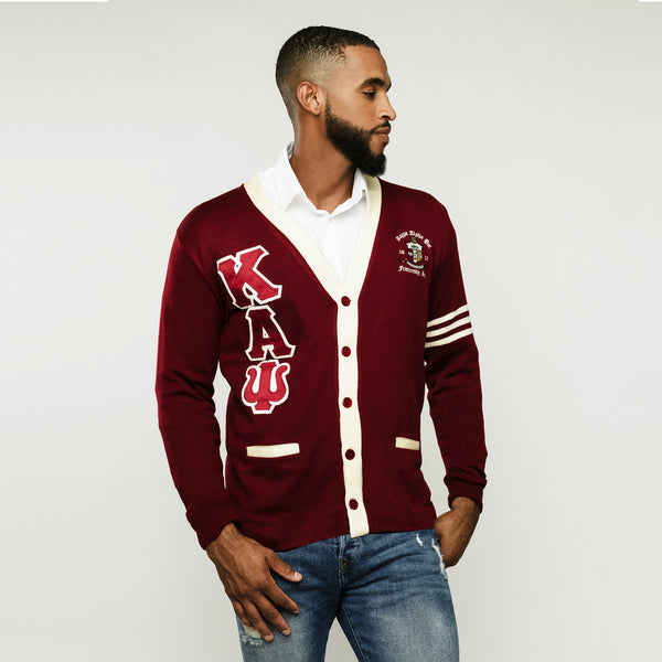 Kappa Alpha Psi Krimson & Kreme Greek Letter Cardigan Sweater