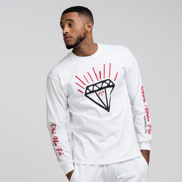 Kappa Alpha Psi Diamond Phi Nu Pi Long Sleeve Tee (White)