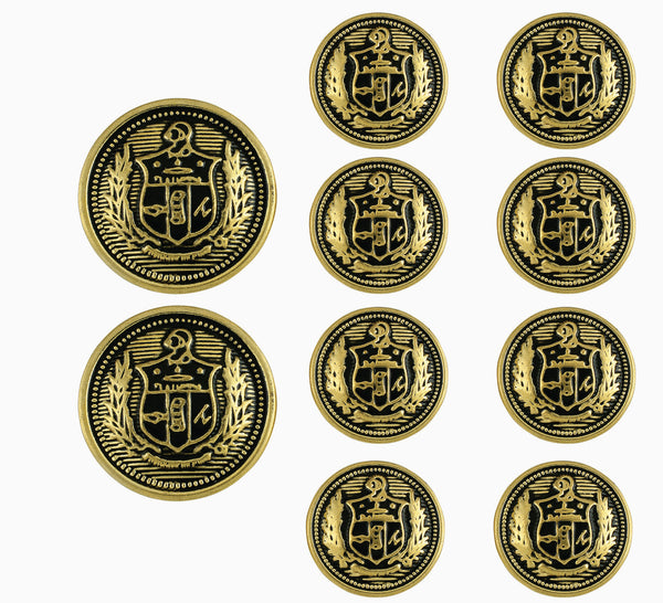 Kappa Alpha Psi Antique Gold Coat of Arms Blazer Buttons