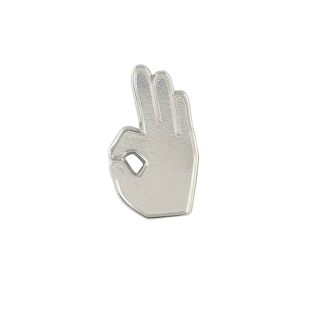 Kappa Alpha Psi YO Hand Sign Lapel Pin (Silver)