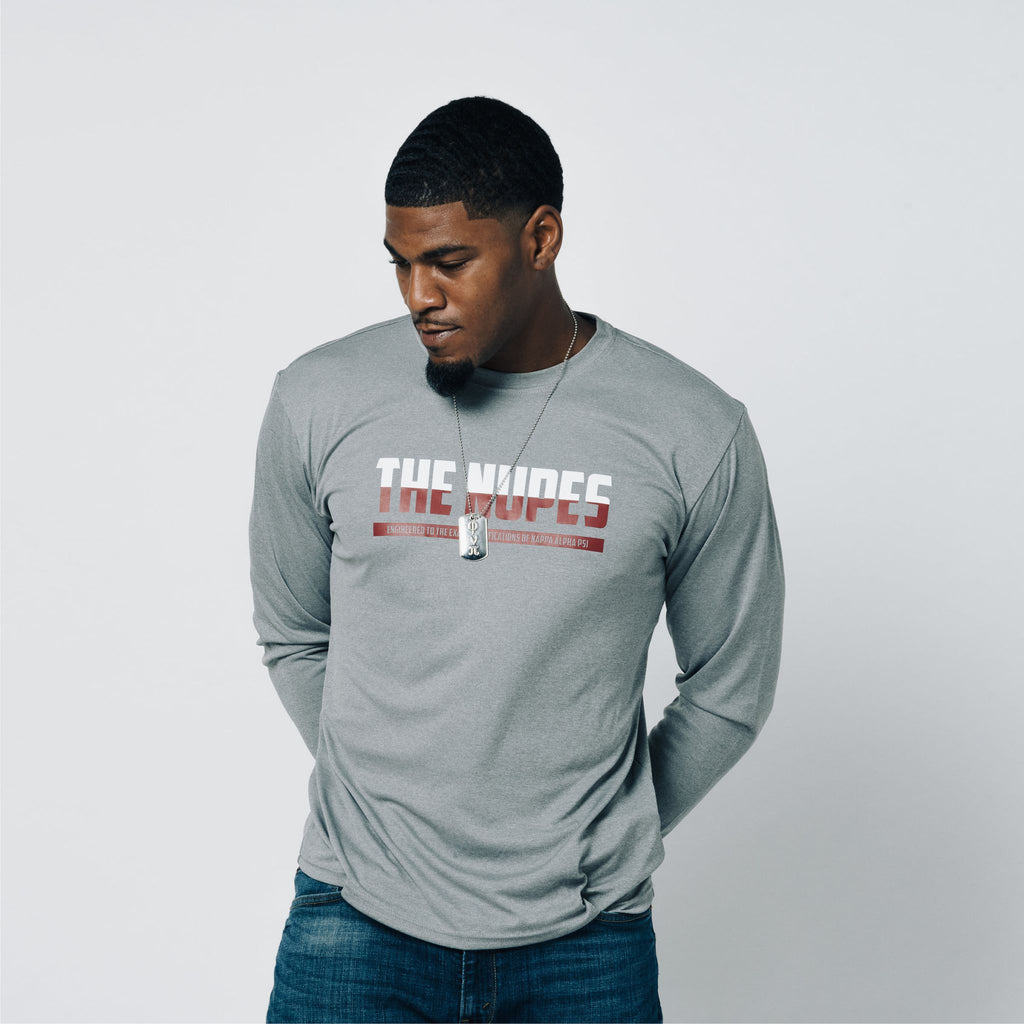 687afb5914e Kappa Alpha Psi The Nupes DriFit Long Sleeve Shirt (Heather Grey ...
