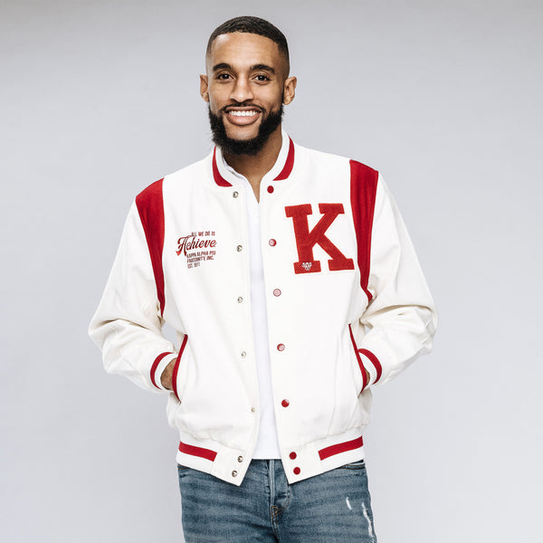 Kappa Alpha Psi World's Greatest Frat Wool Varsity Jacket (Cream)