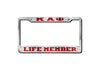 Kappa Alpha Psi Life Member License Plate Frame (Red or Silver)
