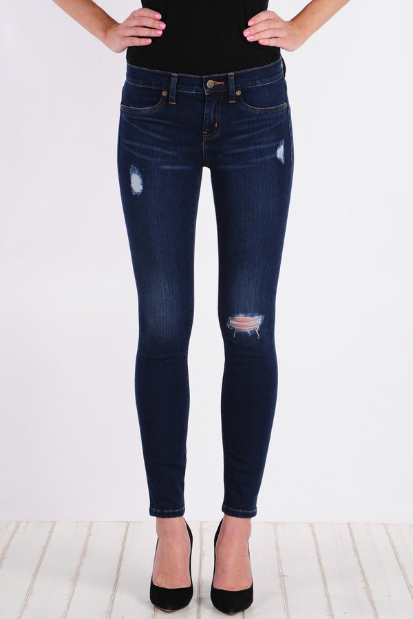 Womens Rustic Destroyed Super Skinny Ankle Jean