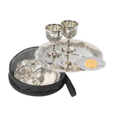 "Avondmaal set -7"" Plate & 2 Cups w/Bag-Silver Plated"