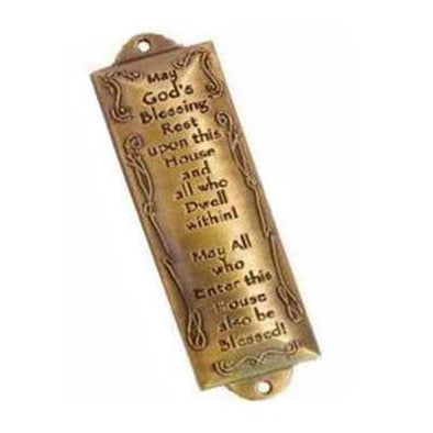 "Mezuzah - Bless This House (4.5"") - Brass"