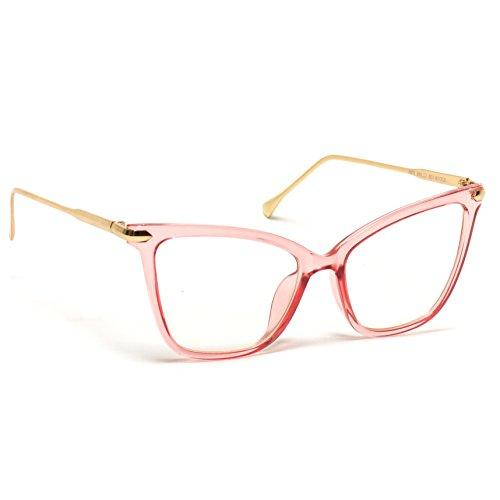 WearMe Pro - New Elegant Oversized Clear Cat Glasses (Pink Frame, 52) - Pink and Caboodle