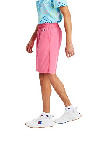Men's Crinkle Nylon Drawstring Waist Reef Pink Shorts