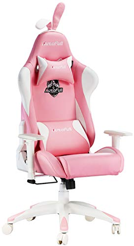 Ergonomic Pink Leather Gaming or Office Desk Chair w/Rabbit Ears and Lumbar Support