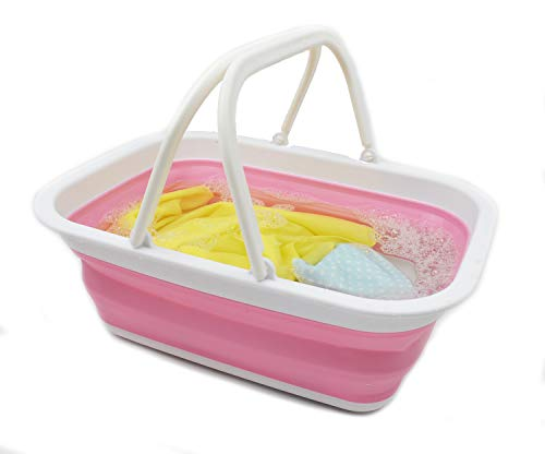 2.37 Gallon Portable Collapsible Tub, Picnic Basket or Shopping Bag with Handle, Pink/White