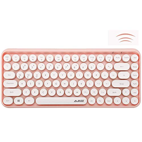 Widely Compatible Wireless Bluetooth Portable Mini Keyboard w/Round Keycaps, Pink