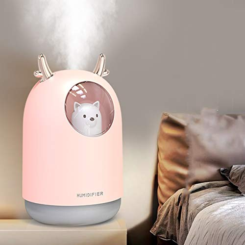Portable Pink USB Cool Mist Desktop Humidifier for Kid's Room, Office, Bedrooms, Auto