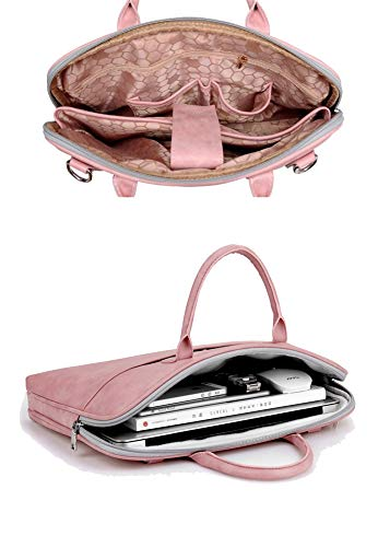 YiYiNoe Laptop Tote Bag Business Briefcase for Women Lady 17.3 inch Water Resistant Computer Handbag with Dismountable Strap,Pink