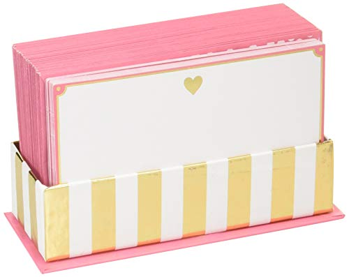 Pink Bordered Gold Heart Flat Note Cards w/Envelopes, Blank Notes