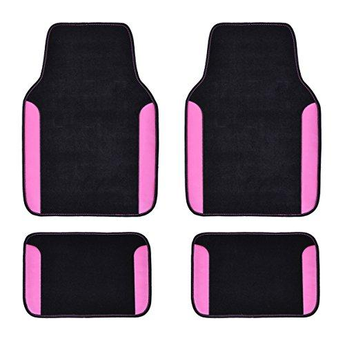 Universal Fit Rainbow Waterproof Black w/Pink Car Floor Mats - Pink and Caboodle