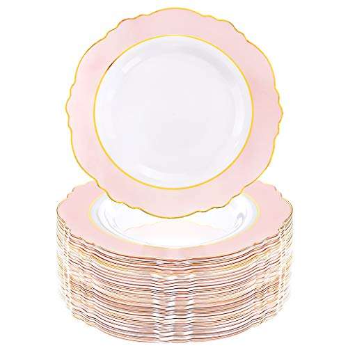 60-Pcs Baroque Pink & Gold Plastic Disposable Dinner Plates