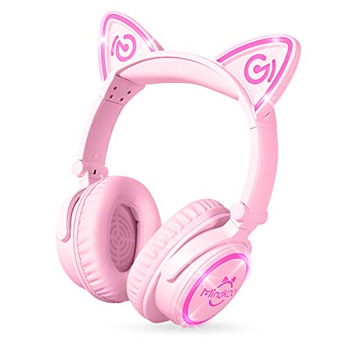 Cute Pink Cat Ear Foldable Bluetooth Stereo Headphones w/LED Light & Built-In Mic