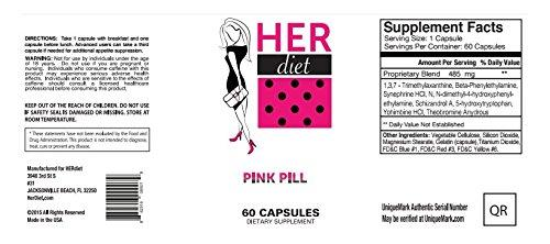 HERdiet Weight Loss Pills 60 Pink Capsules for Women Appetite Control and Increased Energy - Pink and Caboodle