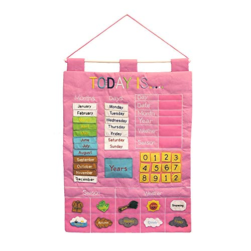 "Pink or Blue ""Today is ..."" Children's Learning Calendar Wall Chart"