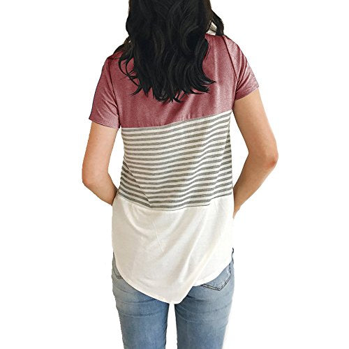 YunJey short sleeve round neck triple color block stripe T-shirt casual blouse,Red,Small