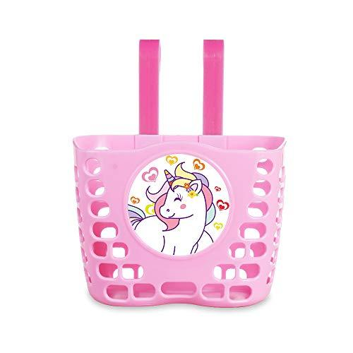 Kid's Pink Unicorn Front Handlebar Bicycle Basket for Girls