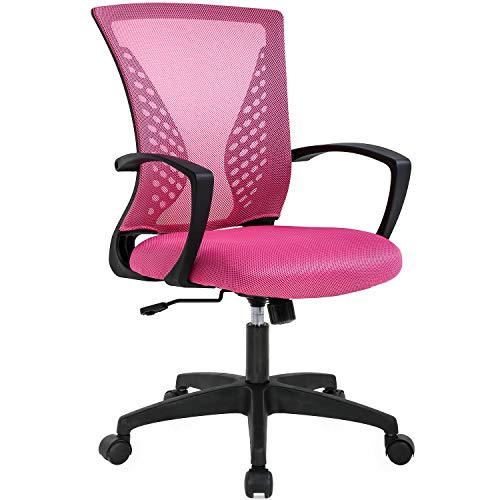 Adjustable Mesh Ergonomic Office Desk Computer Chair w/Lumbar Support, Pink