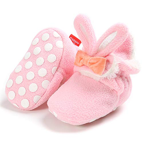 Newborn Baby Boys Girls Bunny & Bow Cozy Fleece Booties w/Gripper Soles, Pink