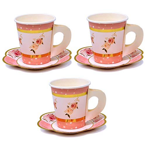 Pink Table Supplies - 6 Disposable Tea Party Cups & Saucers Set, Wedding, Baby or Bridal Shower, Tea Party