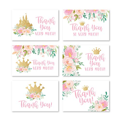24 Pink Floral Thank You Cards w/Envelopes, Blank Inside, 6 Designs