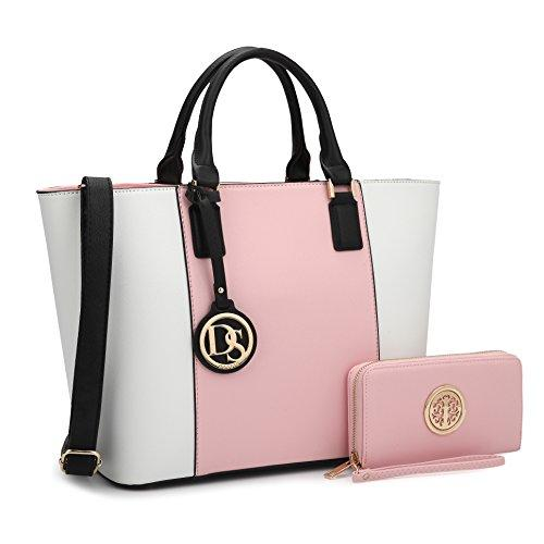 Large Tote Shoulder Bag w/Matching Wallet, Pink and White
